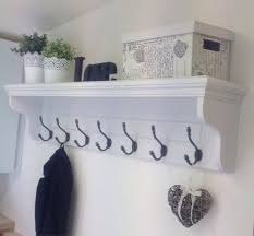 White Coat Rack With Shelf Large Hallway Coat Rack With Shelf and 100 Cast Iron Or Silver Hooks 2