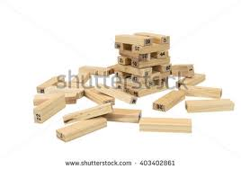 Game Played With Wooden Blocks Jenga Game Wooden Blocks Numbers Play Stock Photo 100 55