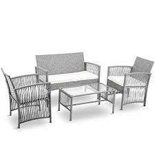 merax 4 pc rattan patio furniture set wicker conversation set garden lawn indoor outdoor sofa set cushioned seat grey