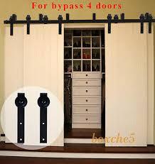 4 of 12 4 20ft wood sliding barn door hardware closet kit for single double byp