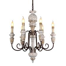 Vintage rustic chandelier antique <b>white wooden</b> lighting french ...