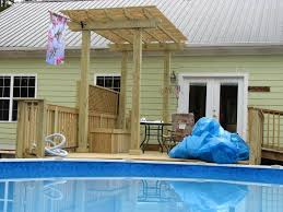 Wood Pool Deck Above Ground Decks For Pools Deck And Pergola Around Above