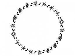バラの花の円形白黒フレーム飾り枠イラスト 無料イラスト かわいい