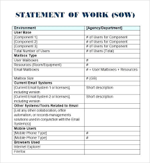 It Sow Template Sample Statement Of Work Project Management Template Sow Download