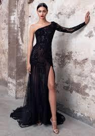Designer One Shoulder Cocktail Dresses Pronovias Sapphire One Shoulder Fully Beaded Black Tulle