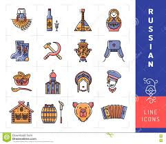 russian culture color thin line icons russia traditional vector royalty vector russian culture