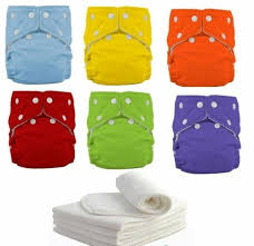 5 Diapers+ 5 INSERTS <b>Adjustable Reusable</b> Lot <b>Baby Washable</b> ...