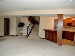 Basement Stairs Decorating Bright Basement Kitchen Idea Near Staircase With White Interior