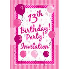 B Day Invitation Cards 13th Birthday Invitation Cards Perfectly Pink Medium