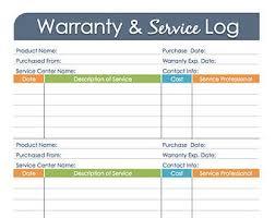 Home Maintenance Log Printable And Fillable Organizing Pdf Etsy