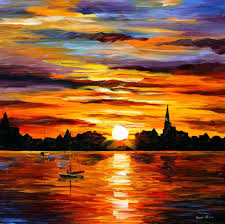 sunset oil painting on canvas by leonid afremov size