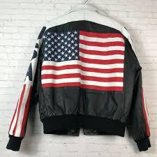 details about vtg 90s michael hoban wheremi usa leather jacket size l big flag er biker