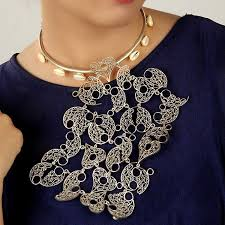 silver toned collar necklace with large filigree pendant s