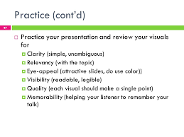 business english lecture ppt  practice cont d practice your presentation and review your visuals for clarity