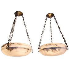 pair french alabaster ceiling light pendants 1
