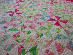 Close up of both sides of my Wanderlust Quilt in my Splendor ... & Down To Sew: Alligators and a Lilly Pulitzer quilt from Jessica Adamdwight.com