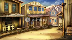 digital painting of the main street of the town in the wild west with houses and saloon long shot