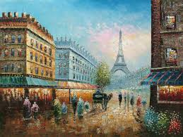 a morning in paris street scenes painting reion on canvas