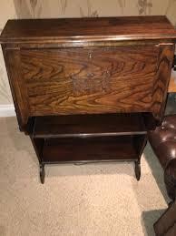 details about vintage beautiful medium dark wooden bureau writing desk with shelves reduced