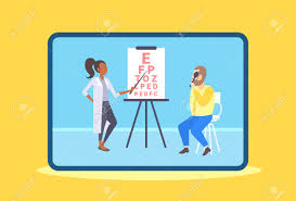 Dr Office Eye Chart Female Ophthalmologist Checking Male Patient Eyesight Doctor