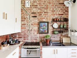 Red Brick Flooring Kitchen Exposed Brick Kitchen Backsplash Cream Large Tile Flooring Red