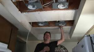 step 1 replace fluorescent lights w recessed lights you