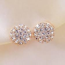 Women <b>Fashion Simple</b> Rhinestones Crystal <b>Stud Earrings</b> Ear ...