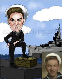 caricature of sailor with ship in background