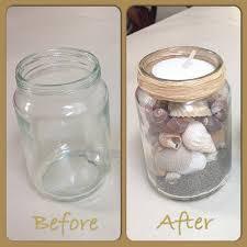 Mason jar crafts  All you need is a used empty baby food gerber jar. Sand.  Sea shells