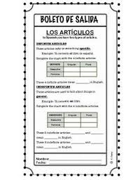 Spanish Date Chart Definite And Indefinite Articles In Spanish 3rd Definite