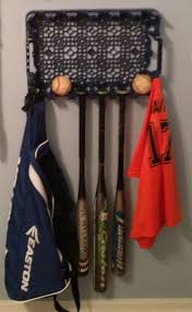 pepsi crate baseball center. Easy fix for baseball equipment storage.