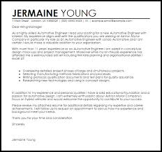 Automotive Engineer Resumes Automotive Engineer Cover Letter Sample Cover Letter