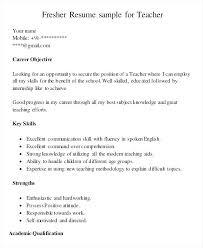 Resume Samples For Teaching Teacher Resume Sample Fresher Teacher