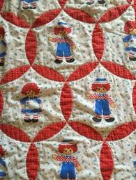 Raggedy Ann Quilt - Youth or Crib Quilt; Hand Made Crazy Patch ... & Vintage 1980s handmade Raggedy Ann and Andy quilted blanket 36x47