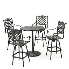 willow 5 piece aluminum circular outdoor bar height bistro set