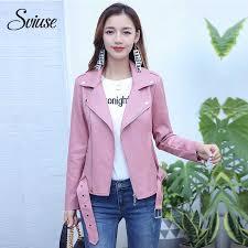 2019 pink faux leather biker jacket women autumn winter motorcycle jacket coats female casual classic streetwear pu leather outerwear from vikey06