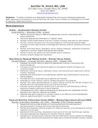 Dietitian Resume Best Template Cover Letter