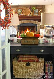 Railroad Tie Mantle when you dont have a white mantel at the picket fence 1037 by xevi.us