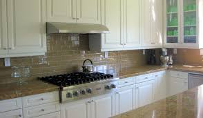 Champagne Glass Subway Tile Backsplash With White Cabinets ...