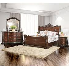 luxury bedroom furniture sets. furniture of america luxury brown cherry 4-piece baroque style bedroom set sets