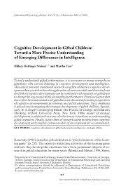Pdf Cognitive Development In Gifted Children Toward A More