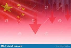China Shanghai Stock Market Crisis Red Price Arrow Down