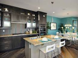 Contemporary Kitchen Wall Colors With Dark Cabinets Espresso And A Bright Color Intended Decorating