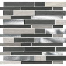 msi urban loft interlocking 12 in x 12 in x 4mm glass stone and metal mesh mounted mosaic tile 20 sq ft case sglsmtil urlof4 the home depot