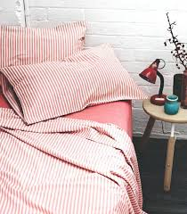 ticking stripe sheets best bedding pillows curtains images on red quilt ticking stripe bedding