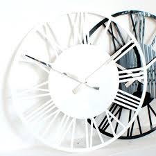 black and silver wall clocks skeleton gloss white black red silver wall clock white and black