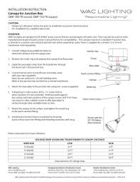 to wac lighting to wac lighting installation instruction canopy for junction box