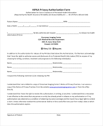 Hipaa Request Form Sample Hipaa Authorization Form 9 Free Documents In Doc Pdf