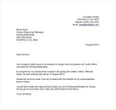 Resignation Letter 2 Week Notice Template Weeks Example Two
