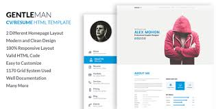 Resume Html Template New Gentleman Responsive CV Resume HTML Template By LabArtisan